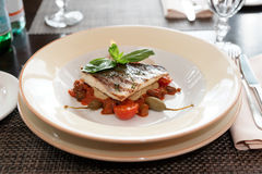 Sea bass fillet with tomato sauce and capers Royalty Free Stock Image