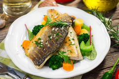 Sea bass fillet with vegetables Stock Photography
