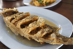 Sea Bass fish deep fried Royalty Free Stock Photography