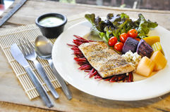 Sea bass Fish steak Royalty Free Stock Photo