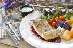 Sea bass Fish steak Royalty Free Stock Photography