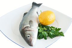 Sea bass with lemon and parsley Royalty Free Stock Photo