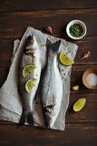 Sea bass with lemon and thyme Royalty Free Stock Photography