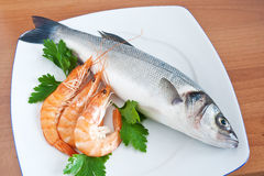 Sea bass with parsley Royalty Free Stock Image