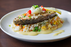 Sea Bass with Rice Stock Photography