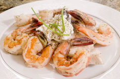 Sea Bass And Shrimps Royalty Free Stock Image