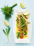 Sea Bass. Steamed sea bass with fennel and leek in olive and linseed oil. Viewed from above royalty free stock images