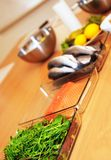 Sea Bass and vegetables prepare for preparation Stock Photos