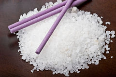 Sea bath salt with lavender sticks  Stock Image