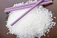Sea bath salt with lavender sticks spa objects Royalty Free Stock Photo