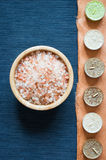 Sea bath salt, top view, text place royalty free stock photography