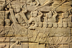 Sea battle between the Cham and Khmer Stock Photo