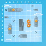 Sea battle game elements with effects. Cartoon illustration Stock Photos