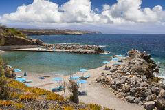 Sea bay and the beach of the village of Panormas Royalty Free Stock Photo