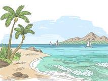Sea bay coast graphic color landscape sketch seascape illustration vector. Sea bay coast graphic color landscape sketch seascape illustration Royalty Free Stock Photos