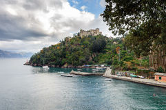 Sea bay with fishing boats at Portofino town, Italy Royalty Free Stock Image