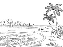 Sea bay graphic black white landscape sketch illustration Royalty Free Stock Image