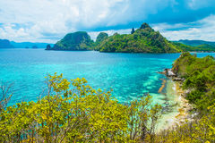 Sea bay and green islands. Scenic landscape with sea bay and green islands Royalty Free Stock Image
