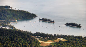 Sea Bay Langkawi. View from the mountain on the island of Langkawi bay Stock Photos