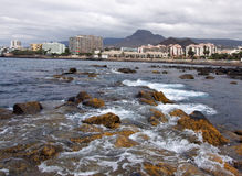 Sea bay of Los Cristianos city, Tenerife.Canary Islands Royalty Free Stock Image
