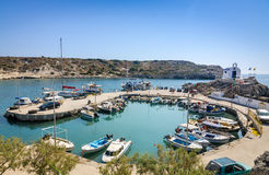 Sea bay with moored boats in Kolymbia harbor Stock Photo