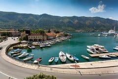 Sea bay with mooring yachts at city of Kotor, Montenegro Royalty Free Stock Photo