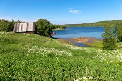 Sea bay near the Holy Trinity Anzersky skete. Of the Solovki monastery on the Anzersky island, the Solovki islands, Arkhangelsk region, Russia royalty free stock images