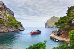 Sea bay near the village Sa Calobra. Island Majorca, Spain. Royalty Free Stock Image