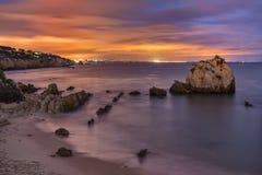 Sea bay at night Albufeira. Stock Image