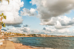 Sea Bay in Paphos, Cyprus. This photograph was taken on the island of Cyprus Royalty Free Stock Photos