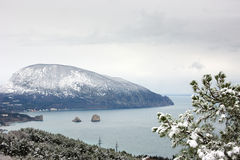 Sea bay with snowy mountain on background Royalty Free Stock Photography