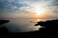 Sea bay on sunrise Stock Photography