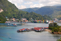 Sea bay town view. Jayapura, Indonesia Stock Photography