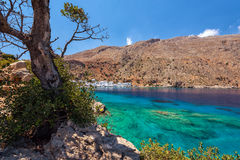 Sea bay with transparent blue water near Loutro town on Crete island, Greece Royalty Free Stock Photography