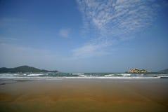 Sea beach. Against clear blue sky Stock Photo