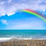 Sea Beach And Rainbow Stock Photography