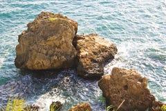 rocky beach antalya turkey Stock Image