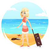 Sea Beach Background Cute Girl Suitcase Cartoon Retro Vintage Female Character Summer Vacation Tourism Journey Travel Stock Photography