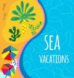 Sea and beach background for the vacation or party invitation, bright design. Vector illustration stock illustration