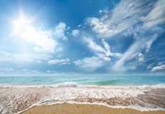 Sea beach and blue sky Royalty Free Stock Image