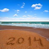 2014 on the sea beach Royalty Free Stock Photo