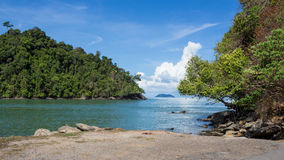 Sea beach blue sky at Ranong, Thailand Royalty Free Stock Photography