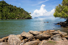 Sea beach blue sky at Ranong, Thailand Royalty Free Stock Photos