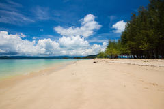 Sea beach blue sky at Ranong, Thailand Stock Photos