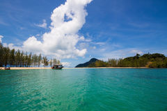Sea beach blue sky at Ranong, Thailand Royalty Free Stock Image