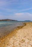 Sea beach, blue sky, sand, sun, daylight. Stock Photography