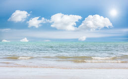 Sea beach blue sky sand sun daylight relaxation landscape Stock Images