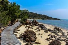 Sea beach, blue sky, sand, sun, daylight. Stock Photos