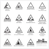 Sea And Beach Caution And Warning Sign Icons Set Stock Photography