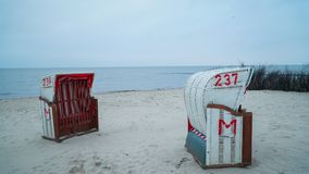 At the sea. Beach chairs on the northsea coast in Germany, Cuxhaven Royalty Free Stock Photo